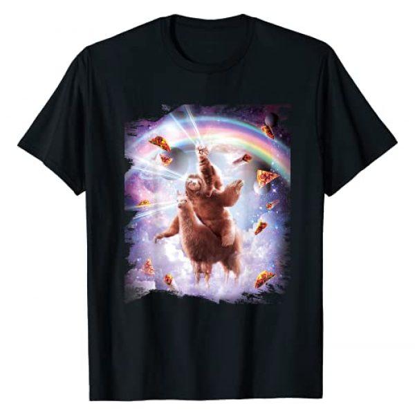 Random Galaxy Graphic Tshirt 1 Laser Eyes Space Cat Riding Sloth, Llama - Rainbow T-Shirt
