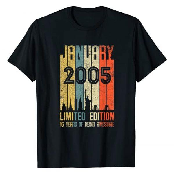 Vintage 16th Birthday Tshirt 16th Birthday Vintage Graphic Tshirt 1 January 2005 T Shirt 16 Year Old Shirt 2005 Birthday Gift T-Shirt