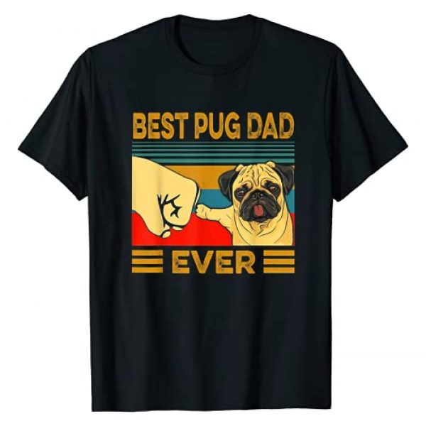 Funny Best Pug Dad Ever Tee Shirt Graphic Tshirt 1 Best Pug Dad Ever Retro Vintage T-Shirt