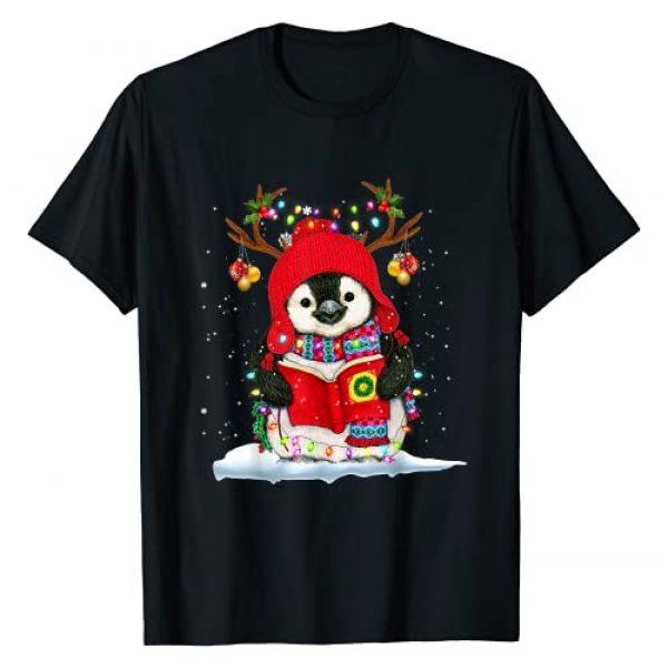 Penguin Christmas Light Xmas Graphic Tshirt 1 Penguin Reindeer Santa Hat Xmas Lights Gift Penguin Lover T-Shirt