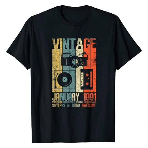 Retro Vintage 30 Years Old 30 Birthday Gifts Graphic Tshirt 1 January 1991 T Shirt 30 Year Old Shirt 1991 Birthday Gift T-Shirt