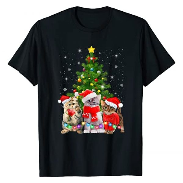 Cat Christmas Funny Gifts Graphic Tshirt 1 Cat Christmas Shirt Funny Meowy Cat Christmas Tree Kitten T-Shirt