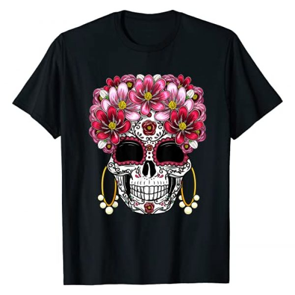 Floral Day of the Dead Shirts Graphic Tshirt 1 Floral Sugar Skull Day of the Dead Dia De Muertos Gift Women T-Shirt