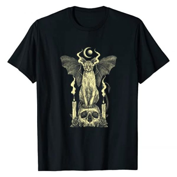 Aesthetic Witchcraft Clothing & Wicca Goth Clothes Graphic Tshirt 1 Evil Sphynx Cat Bat Skull Wicca Gothic Goth Witchcraft Witch T-Shirt