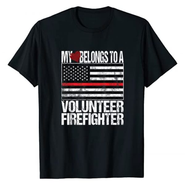 Red Line American Flag Shirts Graphic Tshirt 1 Red Line Flag Fireman Wife Girlfriend Volunteer Firefighter T-Shirt