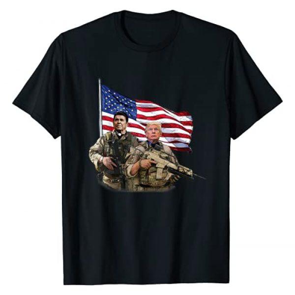 Tronic Tees Graphic Tshirt 1 Presidential Soldiers: Ronald Reagan & Donald Trump USA Flag T-Shirt