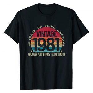 Retro Birthday Quarantine Edition Shirts By Hannah Graphic Tshirt 1 40th Birthday Retro Limited Edition 1981 Quarantine Birthday T-Shirt