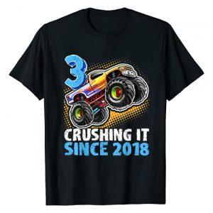 Monster Truck Birthday Apparel Graphic Tshirt 1 3 Crushing It Since 2018 Monster Truck 3rd Birthday Gift Boy T-Shirt