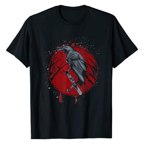 Animal Tees & Gift Idea Graphic Tshirt 1 Halloween Raven Red Moon Spooky Night Crow T-Shirt
