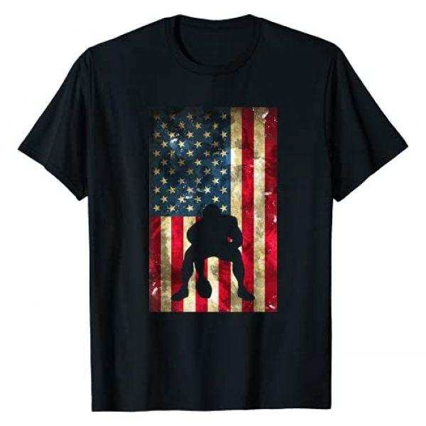 Vintage Football Flag Apparel for Lineman and Fans Graphic Tshirt 1 USA Flag Football - Pittsburgh Lineman Clothing Gift T-Shirt