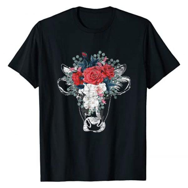 Farm Animal Farmer Gift Cow Graphic Tshirt 1 Flower Cow T-Shirt