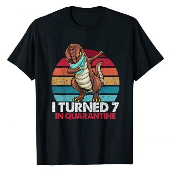 Quarantine T-Rex Dinosaur Shirts By Hannah Graphic Tshirt 1 I Turned 7 In Quarantine Dabbing T-rex 7th Birthday Kids T-Shirt