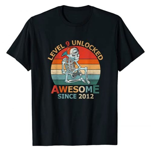 9th Birthday Gift Boy 9 Years of Being Awesome Graphic Tshirt 1 Level 9 Unlocked Birthday 9 Years Old Awesome Since 2012 T-Shirt