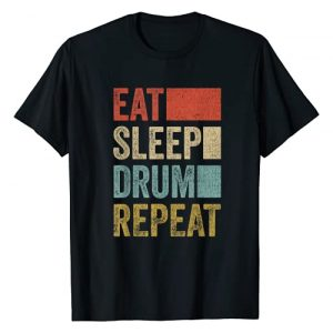 Cool Drummers Vintage Gift Idea Drums Design Graphic Tshirt 1 Drummer Retro 70´s Eat Sleep Drum Repeat Percussion T-Shirt