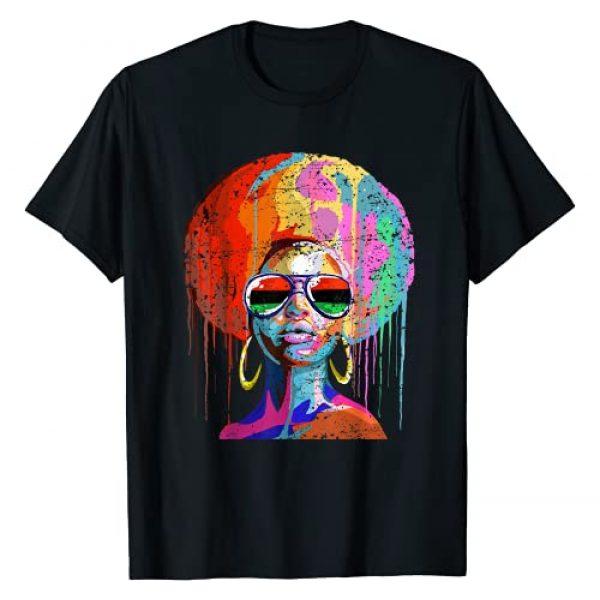 African American Natural Black Hair Co. Graphic Tshirt 1 Black Queen Afro Melanin Art T-Shirt