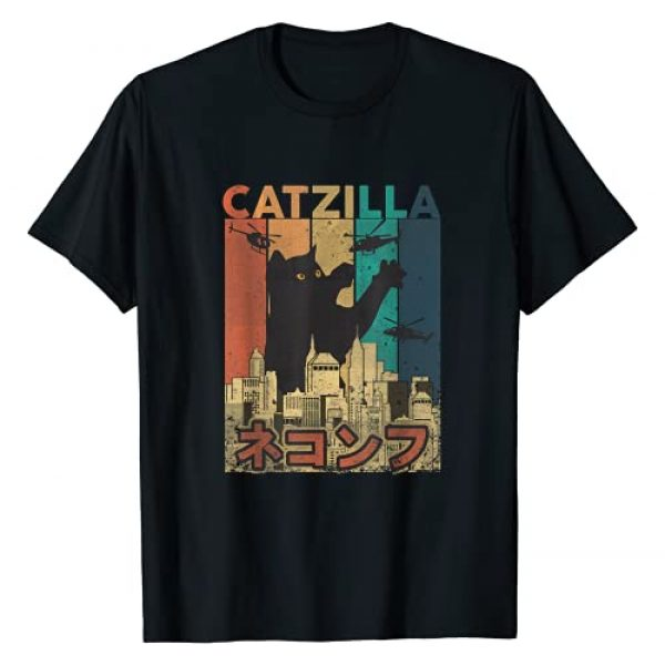 Funny Kitty T-Shirt Graphic Tshirt 1 Vintage Catzilla Tee - Funny Kitten and Cat Tee T-Shirt