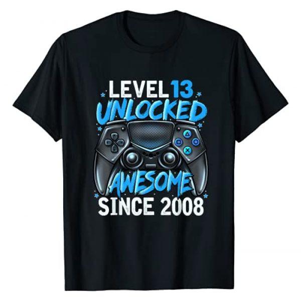 Gamer Birthday Shirts 2021 C Graphic Tshirt 1 Level 13 Unlocked Awesome Since 2008 13th Birthday Gaming T-Shirt