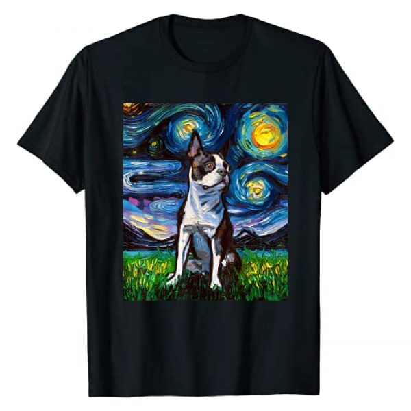 Sagittarius Gallery Graphic Tshirt 1 Boston Terrier Starry Night Impressionist Dog Art by Aja T-Shirt