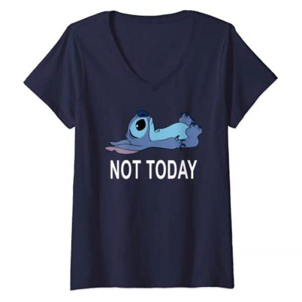 Disney Graphic Tshirt 1 Womens Disney Lilo & Stitch Not Today Stitch V-Neck T-Shirt