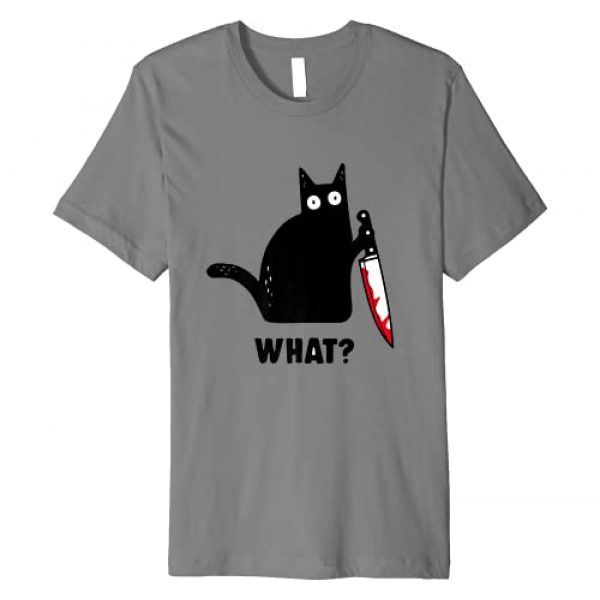 Cat What Shirt Graphic Tshirt 1 Cat What Funny Black Cat Shirt, Murderous Cat With Knife Premium T-Shirt