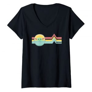 Star Wars Graphic Tshirt 1 Womens Star Wars The Mandalorian The Child Rainbow Chest Lines V-Neck T-Shirt