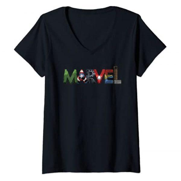 Marvel Graphic Tshirt 1 Womens Marvel Avengers Character Text Portrait V-Neck T-Shirt