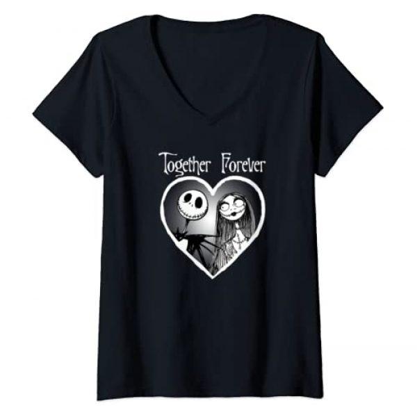 Disney Graphic Tshirt 1 Womens Disney Nightmare Before Christmas Drip Heart V-Neck T-Shirt
