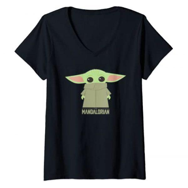 Star Wars Graphic Tshirt 1 Womens Star Wars The Mandalorian The Child Hidden Face Portrait V-Neck T-Shirt
