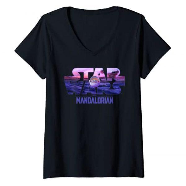 Star Wars Graphic Tshirt 1 Womens Star Wars The Mandalorian The Child Logo Fill V-Neck T-Shirt