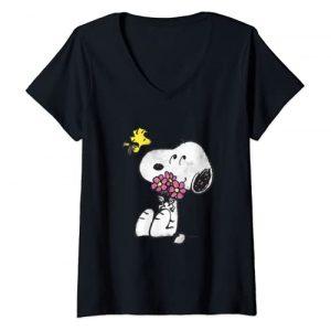 Peanuts Graphic Tshirt 1 Womens Peanuts Snoopy Woodstock Flowers V-Neck T-Shirt