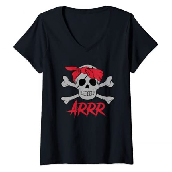 Pirate Symbol Easy Outfit Costume Shirts 360 Graphic Tshirt 1 Womens PIRATE DEAD SKULL wih eye patch Halloween Design V-Neck T-Shirt