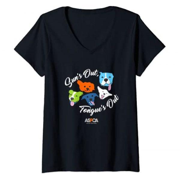 ASPCA Graphic Tshirt 1 Womens ASPCA Tongue's Out V-Neck T-Shirt