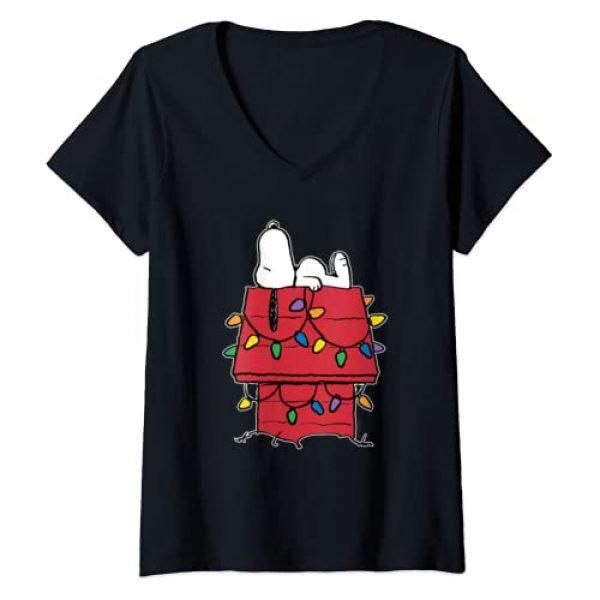Peanuts Graphic Tshirt 1 Womens Peanuts Snoopy Christmas Lights V-Neck T-Shirt