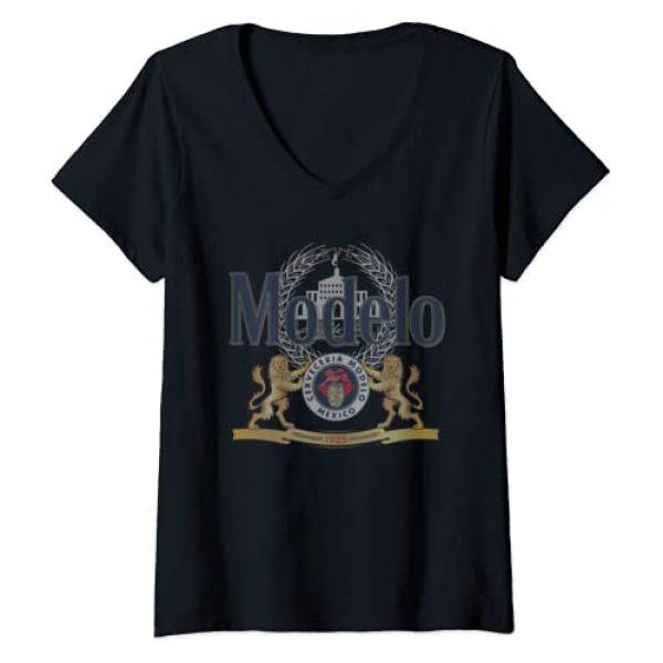 Modelo Graphic Tshirt 1 Womens Cerveza Modelo Classic Logo V-Neck T-Shirt