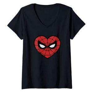 Marvel Graphic Tshirt 1 Womens Marvel Spider-Man Heart Shaped Mask Portrait V-Neck T-Shirt