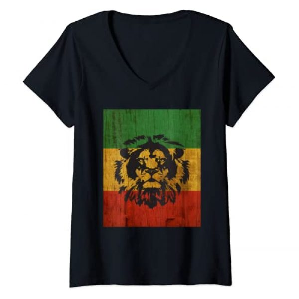 Rasta & Reggae Clothing Graphic Tshirt 1 Womens Rasta Reggae Lion Flag Jamaica for Rastafari Lover V-Neck T-Shirt