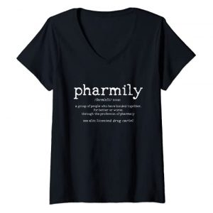 Pharmacy Technician Gifts Graphic Tshirt 1 Womens Pharmily Definition Funny Pharmacy Technician Pharmacist V-Neck T-Shirt
