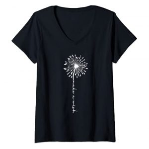 Dandelion graphic tee Graphic Tshirt 1 Womens Make A Wish Dandelion Floral Tops, Positive Sayings, Graphic V-Neck T-Shirt
