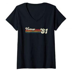Vintage Retro Birthday Tees Graphic Tshirt 1 Womens Vintage 1981 Chest Stripe 40th Birthday V-Neck T-Shirt