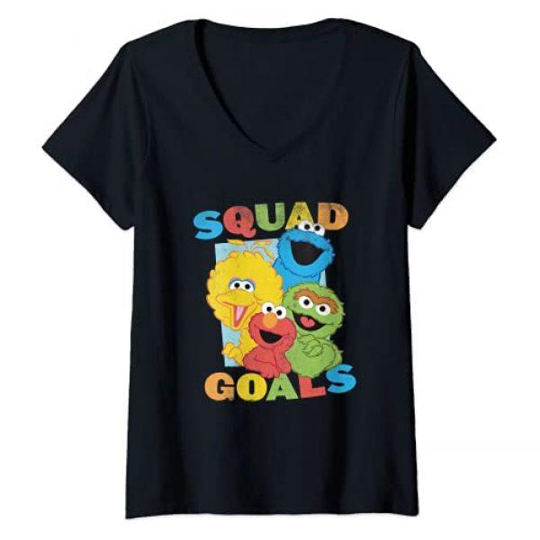 Sesame Street Graphic Tshirt 1 Womens Sesame Street Squad Goals V-Neck T-Shirt