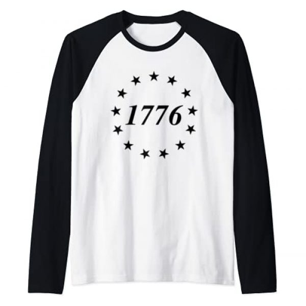 Ross American Flag 1776 Circular Stars Design Graphic Tshirt 1 13 Stars & 13 Colonies! Betsy Ross Flag 1776 Star Circle Raglan Baseball Tee
