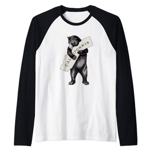 Retro Vintage California Flag Bear Shirt Graphic Tshirt 1 Bear Hug I Love California Shirt Art-Retro Vintage Cali Bear Raglan Baseball Tee