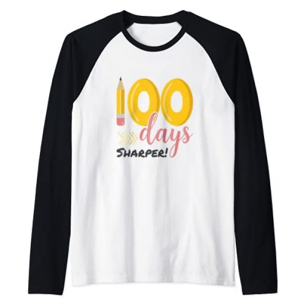 100th Day of School Teacher & Student Apparel Co Graphic Tshirt 1 100 Days Sharper Shirt 100th Day of School Teacher Kids Raglan Baseball Tee