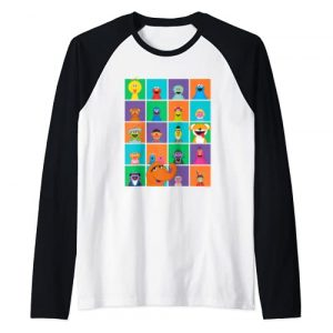 Sesame Street Graphic Tshirt 1 Character Squares Raglan Baseball Tee