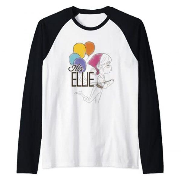 Disney Graphic Tshirt 1 Pixar Up His Ellie Balloons Sketch Raglan Baseball Tee