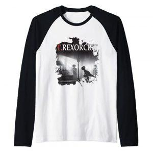 Funny Gift Ideas for Movie Fans Graphic Tshirt 1 Tyrannosaurus Rex Tee Shirt - T.rexorcist Dinosaur Parody Raglan Baseball Tee