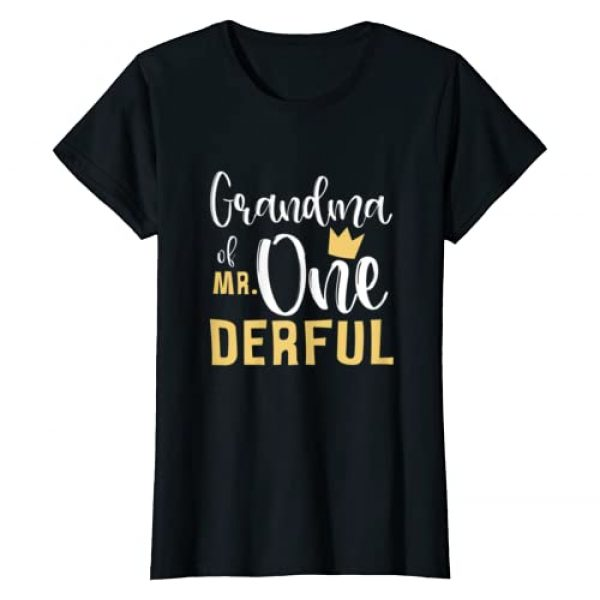 Mr Onederful 1st Birthday Party First One-Derful Graphic Tshirt 1 Womens Grandma of Mr Onederful 1st Birthday First One-Derful Party T-Shirt