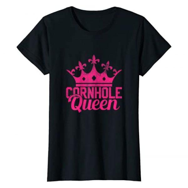 Cornhole Queen Shirts Graphic Tshirt 1 Womens Cornhole Queen Shirt - Corn Hole T-Shirt Funny Gift T-Shirt
