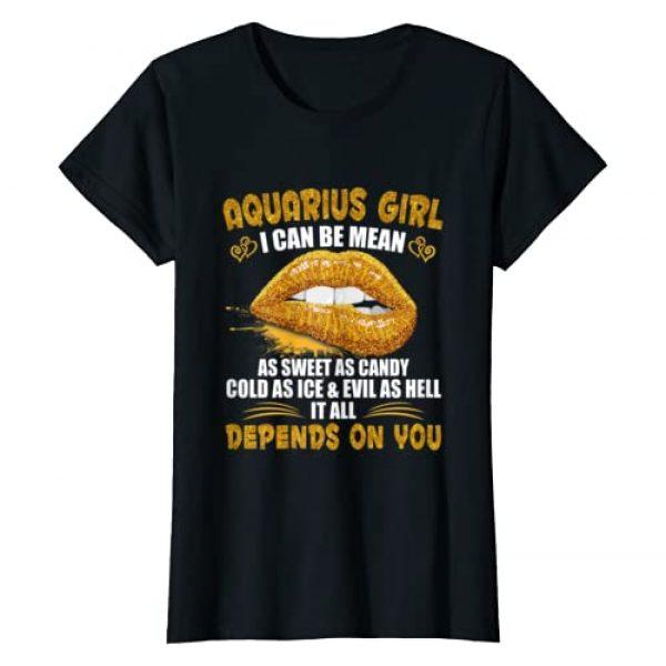 Aquarius Zodiac Birthday Golden Lips Graphic Tshirt 1 Aquarius Girl I Can Be Mean Birthday Gift Golden Lips Aquari T-Shirt