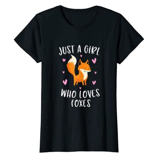 Cute Fox Lover Clothing Gifts For Women Graphic Tshirt 1 Just A Girl Who Loves Foxes Funny Fox Gifts For Girls T-Shirt